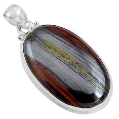 33.29cts natural brown tiger's hawks eye 925 sterling silver pendant p89242