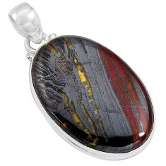 25.00cts natural brown tiger's hawks eye 925 sterling silver pendant p89243