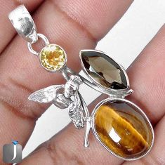 15.71cts NATURAL BROWN TIGERS EYE 925 SILVER HONEY BEE PENDANT G64089