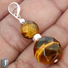 NATURAL BROWN TIGERS EYE 925 STERLING SILVER BEADS PENDANT JEWELRY G78280
