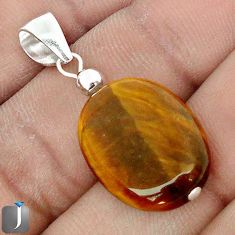 14.07cts NATURAL BROWN TIGERS EYE 925 STERLING SILVER PENDANT JEWELRY G78262