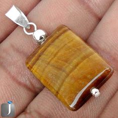 14.46cts NATURAL BROWN TIGERS EYE 925 STERLING SILVER PENDANT JEWELRY G78272