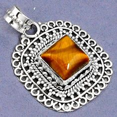 NATURAL BROWN TIGERS EYE 925 STERLING SILVER SOLITAIRE PENDANT JEWELRY G94826