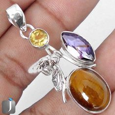 15.80cts NATURAL BROWN TIGERS EYE AMETHYST 925 SILVER HONEY BEE PENDANT G64088