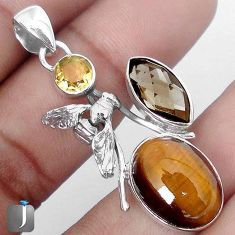 16.17cts NATURAL BROWN TIGERS EYE CITRINE 925 SILVER HONEY BEE PENDANT G64117