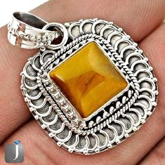 NATURAL BROWN TIGERS EYE CUSHION 925 STERLING SILVER PENDANT JEWELRY G67278