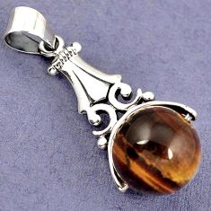 NATURAL BROWN TIGERS EYE ROUND 925 STERLING SILVER PENDANT JEWELRY H6089