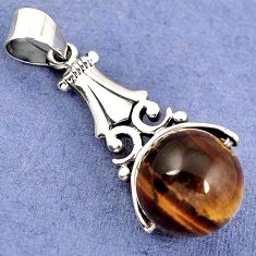 NATURAL BROWN TIGERS EYE ROUND BALL 925 STERLING SILVER PENDANT JEWELRY H30342