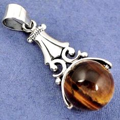 NATURAL BROWN TIGERS EYE ROUND BALL 925 STERLING SILVER PENDANT JEWELRY H30343