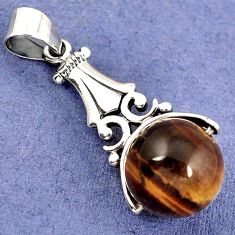 NATURAL BROWN TIGERS EYE ROUND BALL 925 STERLING SILVER PENDANT JEWELRY H30344