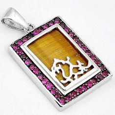 NATURAL BROWN TIGERS EYE RUBY QUARTZ 925 STERLING SILVER PENDANT JEWELRY H18833