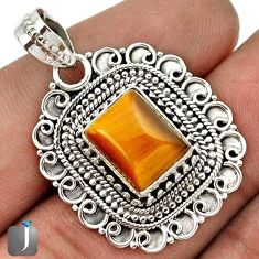 NATURAL BROWN TIGERS EYE SQUARE 925 STERLING SILVER PENDANT JEWELRY G67280