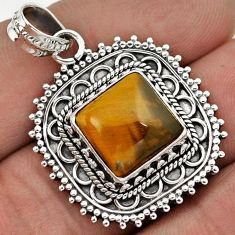 NATURAL BROWN TIGERS EYE SQUARE 925 STERLING SILVER PENDANT JEWELRY G83979
