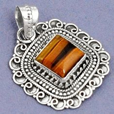 NATURAL BROWN TIGERS EYE SQUARE SHAPE 925 STERLING SILVER PENDANT JEWELRY G94814