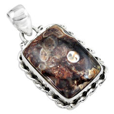 14.06cts natural brown turritella fossil snail agate 925 silver pendant p41198