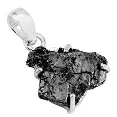 18.14cts natural campo del cielo (meteorite) 925 sterling silver pendant p68696