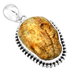 15.16cts natural carving picture jasper 925 sterling silver skull pendant p77313