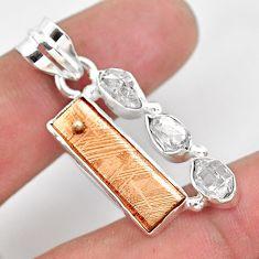 Natural copper meteorite gibeon herkimer diamond 925 silver pendant p54541