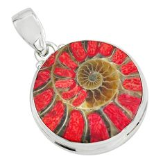 25.60cts natural coral in ammonite 925 sterling silver pendant jewelry p69431