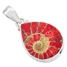 16.20cts natural coral in ammonite 925 sterling silver pendant jewelry p69436