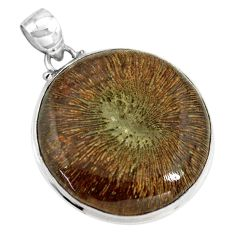 34.94cts natural cyclolite coral fossil 925 sterling silver pendant p79583