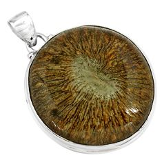 37.74cts natural cyclolite coral fossil 925 sterling silver pendant p79585