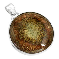 34.94cts natural cyclolite coral fossil 925 sterling silver pendant p79592
