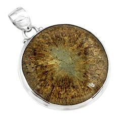 29.93cts natural cyclolite coral fossil 925 sterling silver pendant p79596