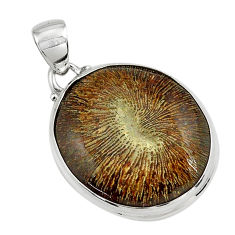 21.48cts natural cyclolite coral fossil 925 sterling silver pendant p79601