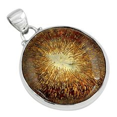25.00cts natural cyclolite coral fossil 925 sterling silver pendant p79603