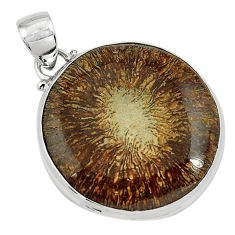 24.00cts natural cyclolite coral fossil 925 sterling silver pendant p79609