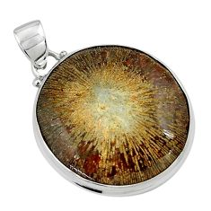 22.02cts natural cyclolite coral fossil 925 sterling silver pendant p79616