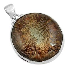 30.49cts natural cyclolite coral fossil 925 sterling silver pendant p79618