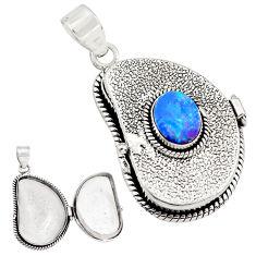 3.57cts natural doublet opal australian 925 silver poison box pendant p79831
