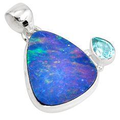 11.25cts natural doublet opal australian blue topaz 925 silver pendant p52121