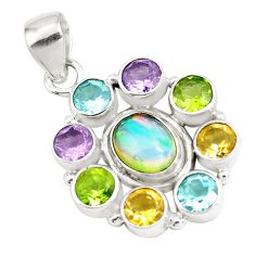 10.33cts natural ethiopian opal amethyst 925 silver pendant p77988