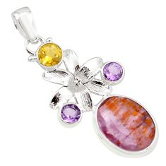 13.36cts natural faceted cacoxenite super seven 925 silver flower pendant p77936