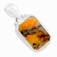 11.23cts natural faceted dendritic quartz 925 sterling silver pendant p75906