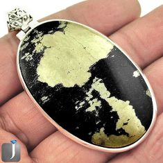 80.29cts NATURAL GOLDEN BLACK PYRITE 925 STERLING SILVER PENDANT JEWELRY E96018