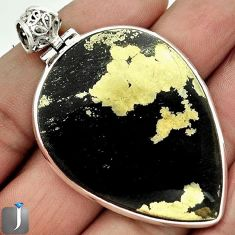 55.67cts NATURAL GOLDEN BLACK PYRITE 925 STERLING SILVER PENDANT JEWELRY F4005