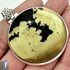 80.87cts NATURAL GOLDEN BLACK PYRITE 925 STERLING SILVER PENDANT JEWELRY F4017