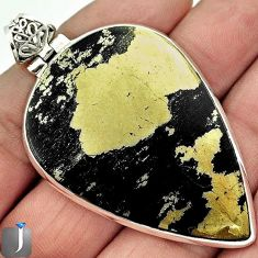 68.08cts NATURAL GOLDEN BLACK PYRITE 925 STERLING SILVER PENDANT JEWELRY F4018