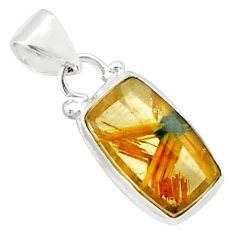 6.45cts natural golden half star rutile 925 sterling silver pendant p75981
