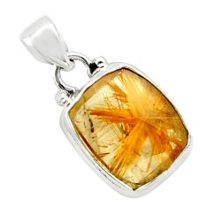 9.18cts natural golden half star rutile 925 sterling silver pendant p75982