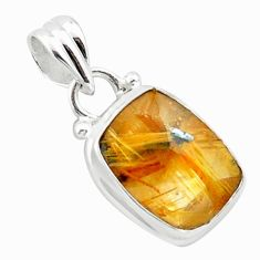 7.50cts natural golden half star rutile 925 sterling silver pendant p75983