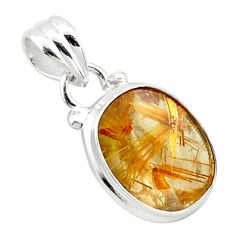 6.80cts natural golden half star rutile 925 sterling silver pendant p75985