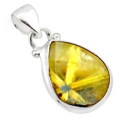 12.58cts natural golden half star rutile 925 sterling silver pendant p75986