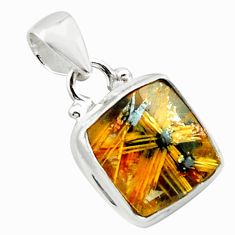 9.45cts natural golden half star rutile 925 sterling silver pendant p75988