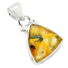 7.24cts natural golden half star rutile 925 sterling silver pendant p75990