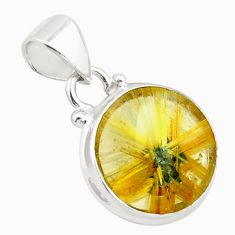11.26cts natural golden half star rutile 925 sterling silver pendant p75991